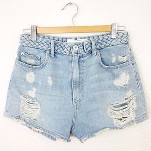 Tularosa Emma High-waisted Braided Denim Short